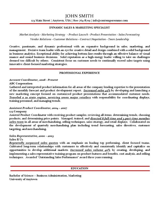 resume bullet points for marketing