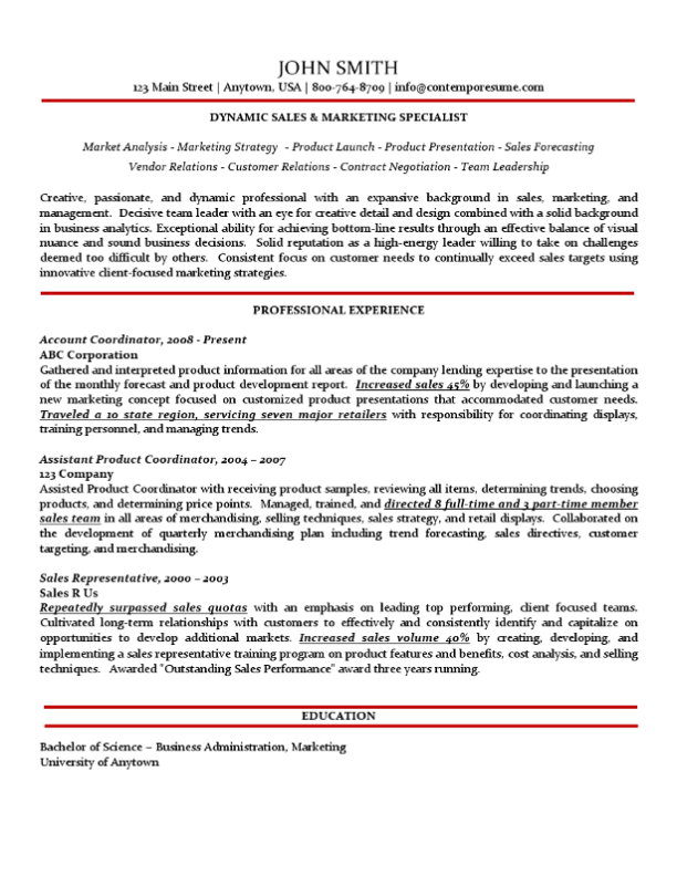 Sales & Marketing Specialist Resume Example (Traditional Variation with Subtle Use of Color, No Bullet Points)