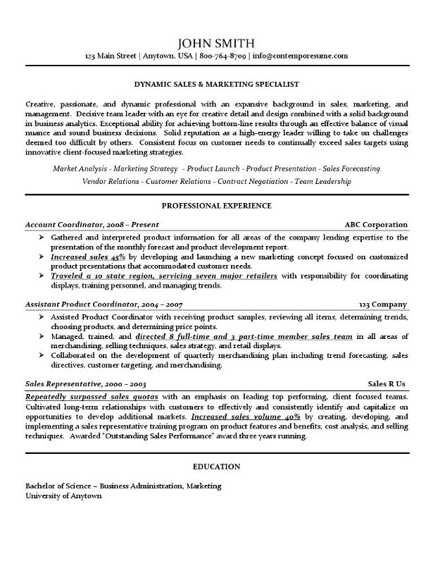 sales  u0026 marketing specialist resume  use of lines  bold