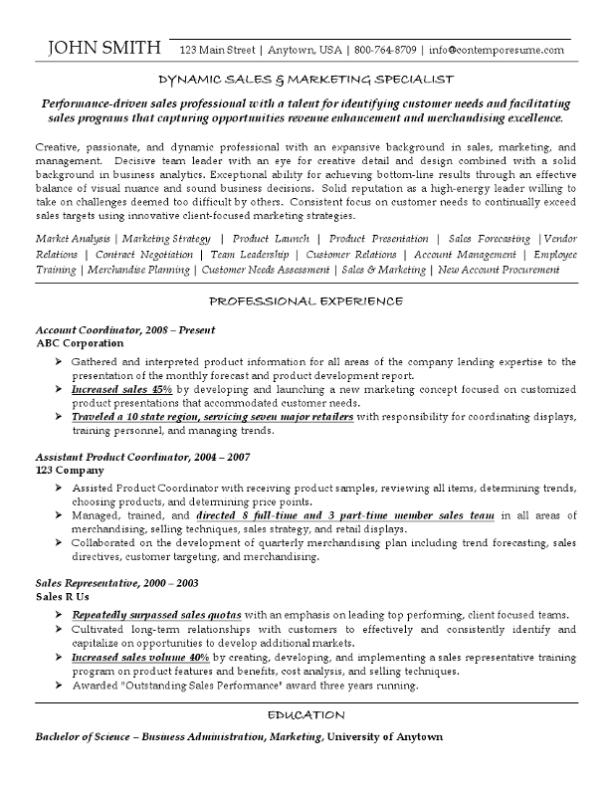 sales marketing specialist resume font variations - Marketing Specialist Resume