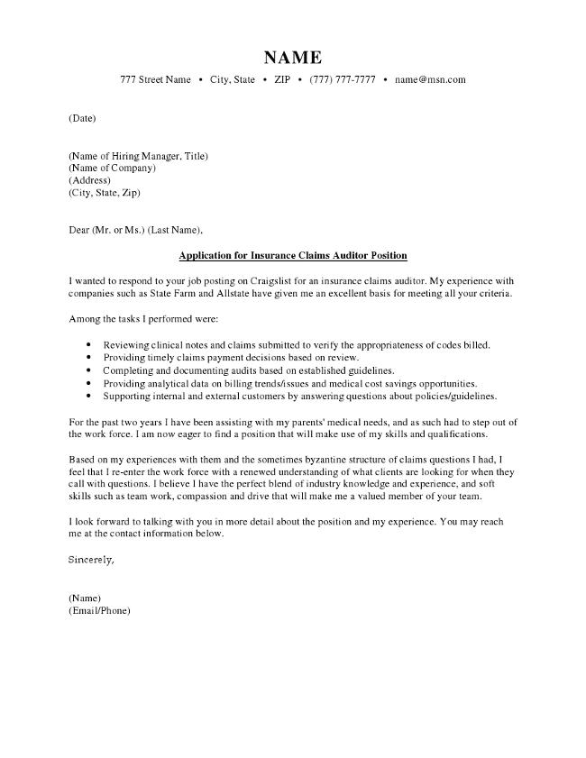 Insurance Claim Cover Letter
