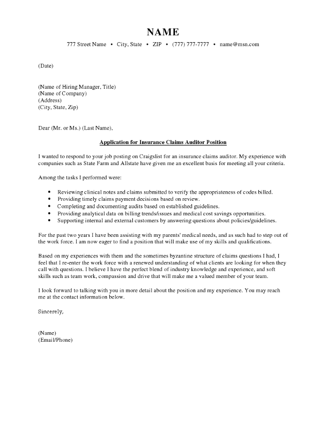 text version of the insurance claim cover letter sample