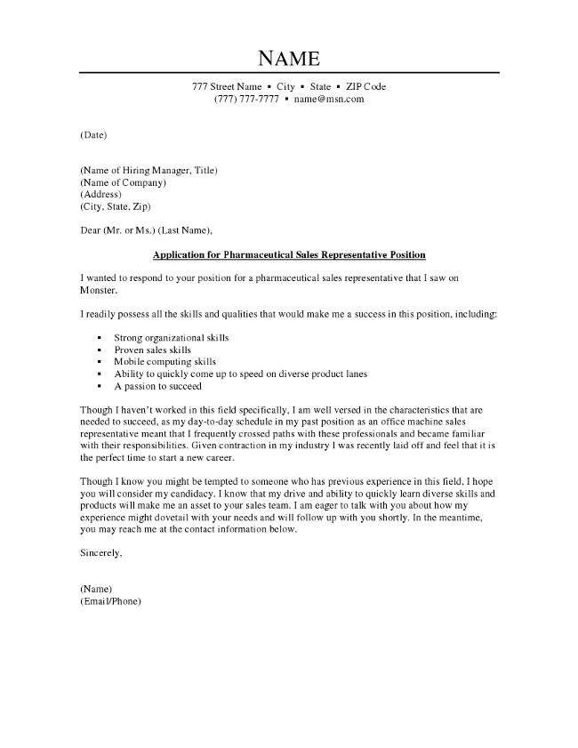How To Write A Cover Letter Pharmaceutical Sales