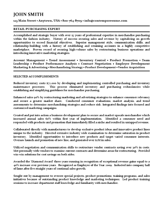retail buyer resume - Buyer Resume Objective