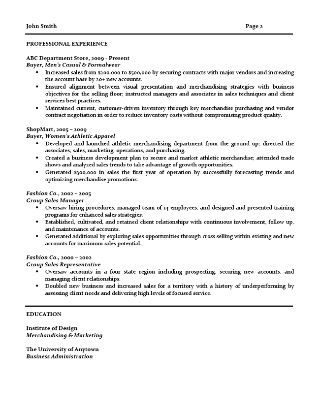 Retail Buyer Resume, page 2