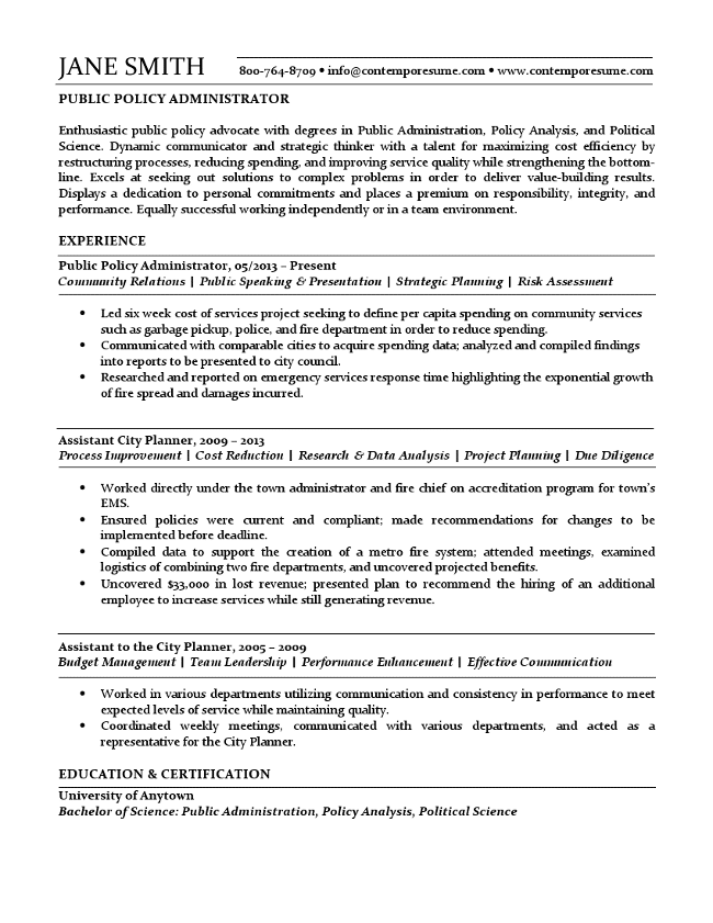 Public Policy Resume