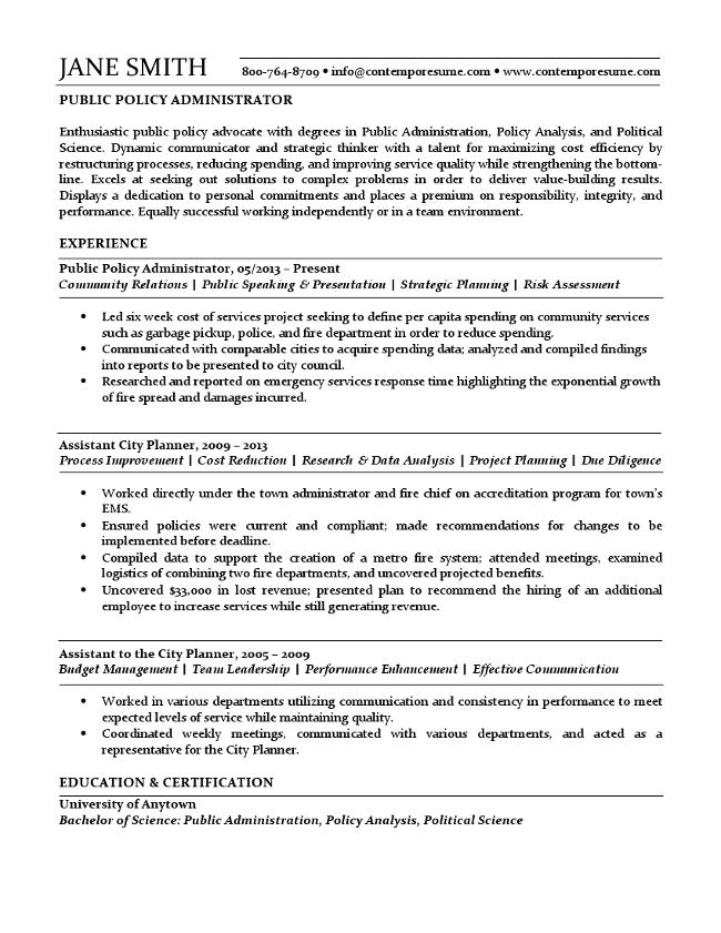 public administration sample resumes