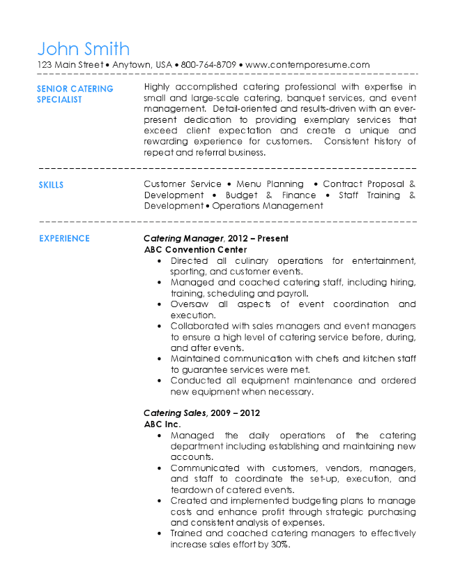 Senior Catering Specialist Resume Page 1