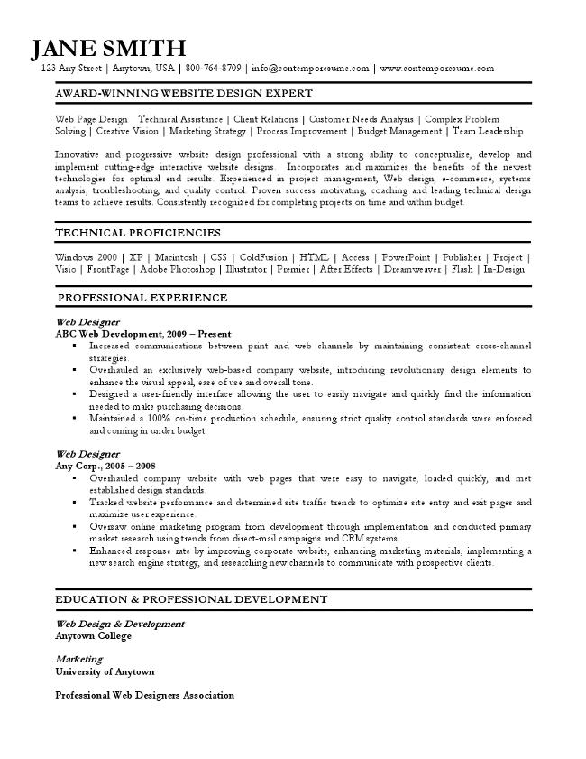 web designer resume - Resume Format For Web Designer