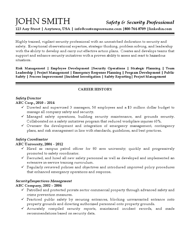 Safety and Security Professional Resume