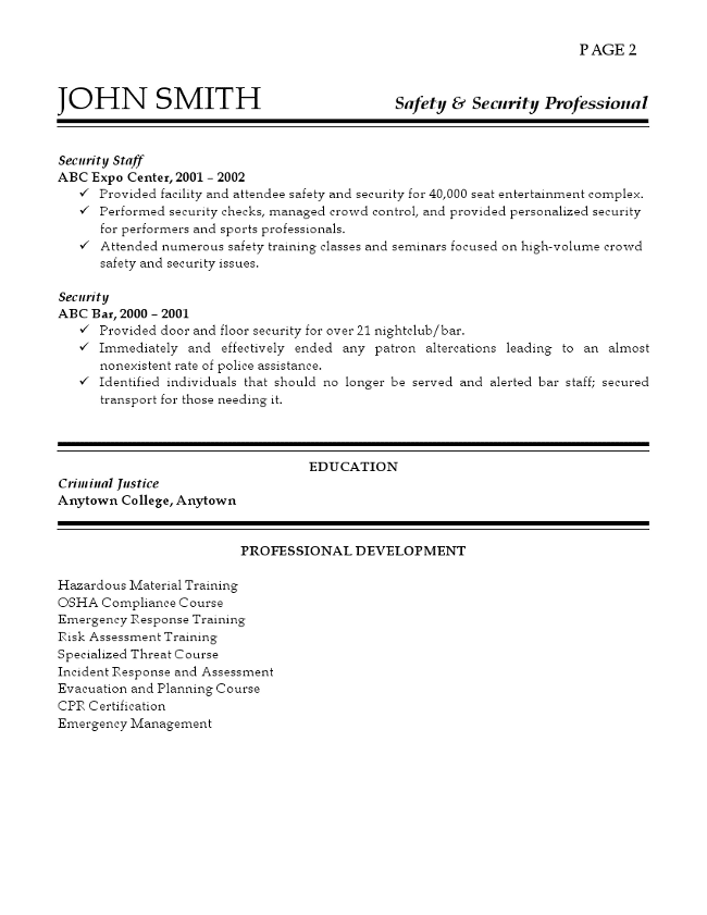 TEXT VERSION OF THE SAFETY AND SECURITY PROFESSIONAL RESUME SAMPLE