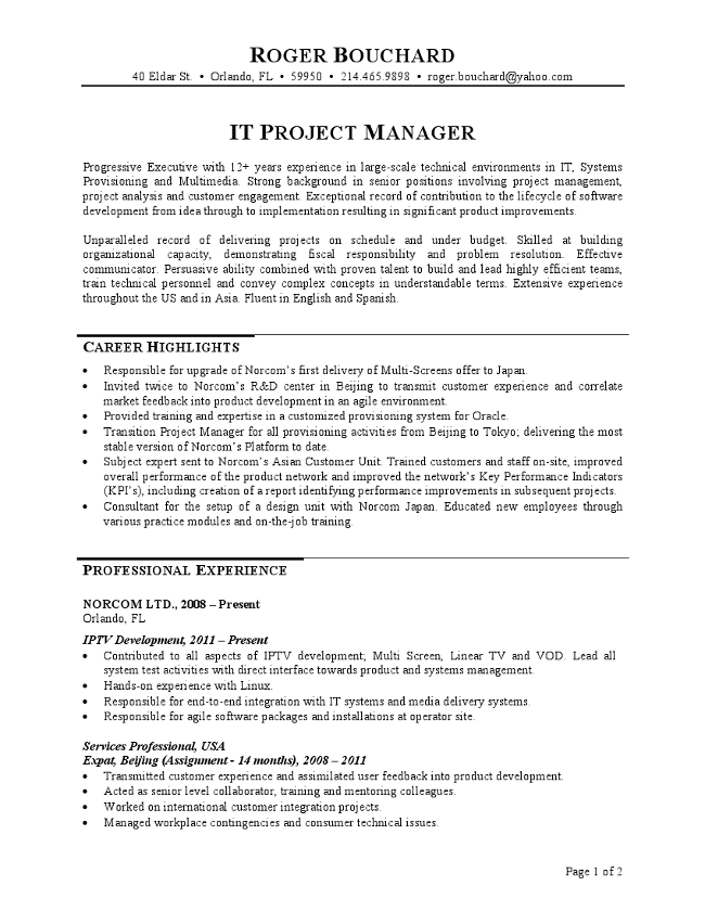 It project manager resume altavistaventures Image collections