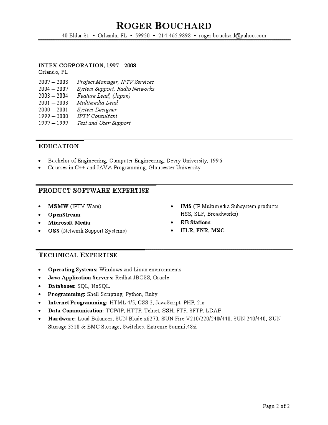 IT Project Manager Resume Page 2
