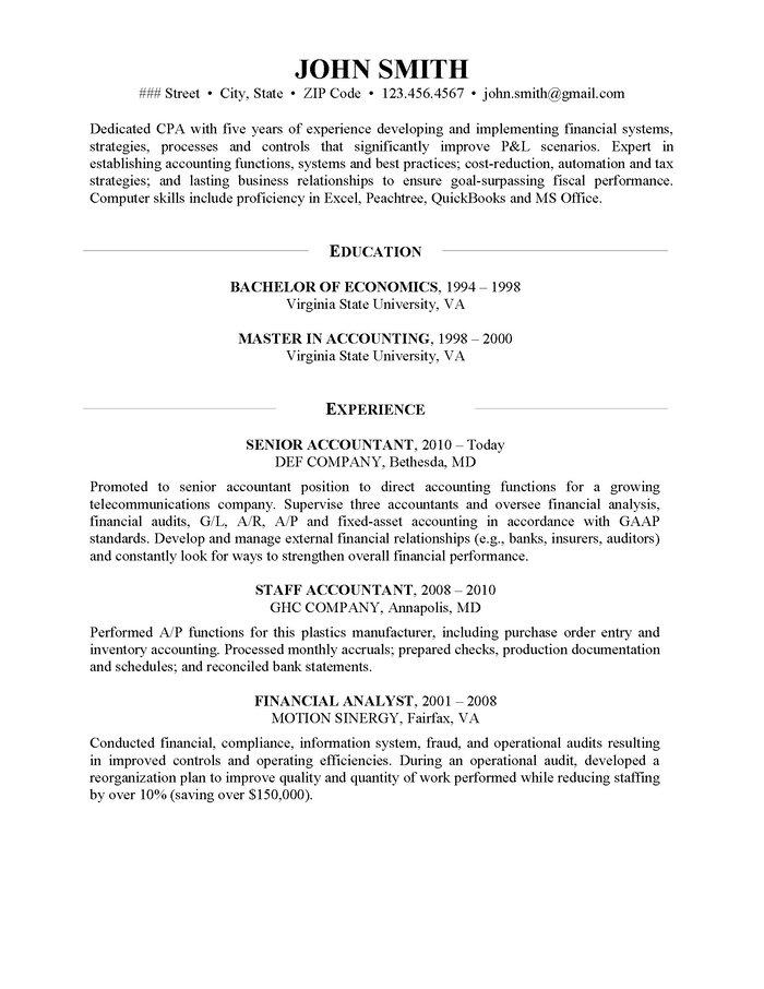 CPA Resume Sample