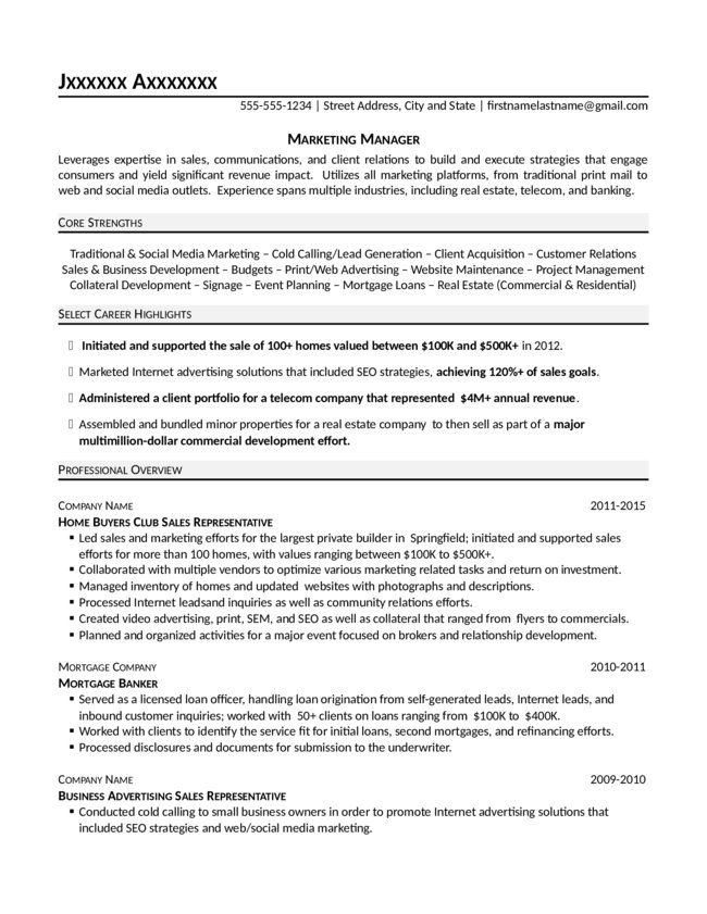 marketing manager resume. Resume Example. Resume CV Cover Letter