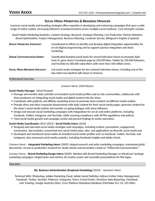 Social Media Marketing Branding Manager Resume