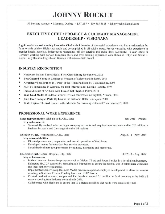 executive chef resume