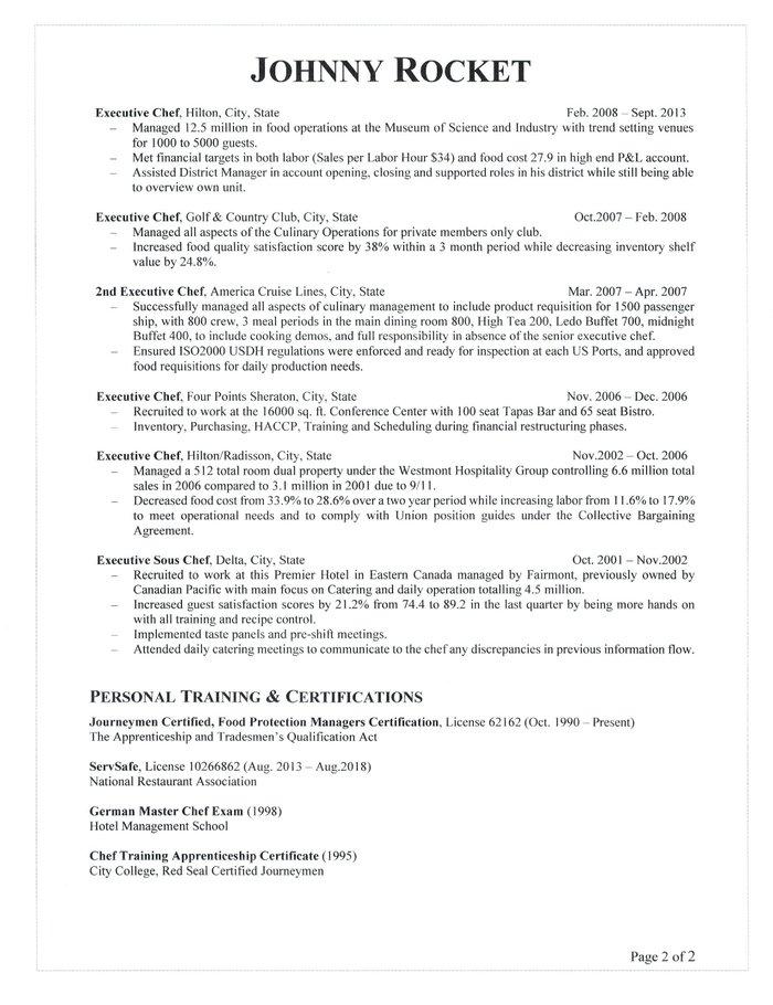 executive chef resume - Executive Chef Resume