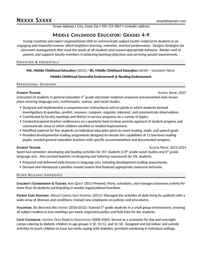 Middle Childhood Educator Resume