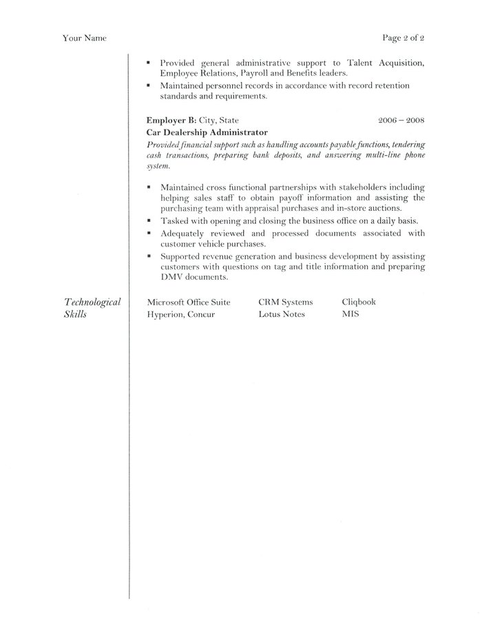 personnel administrative assistant resumes