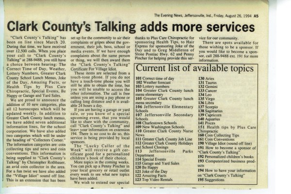 Clark County's Talking Early Work at Home computerized business
