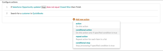 Conditional action-