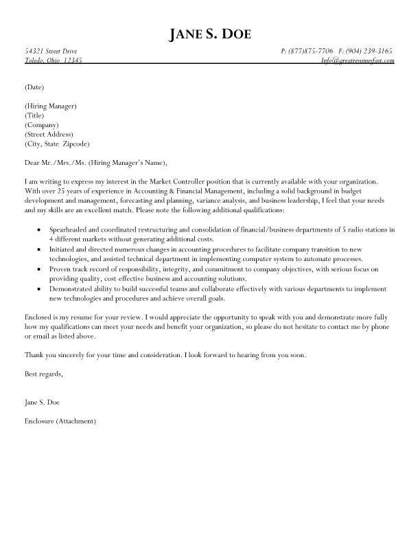 Cost Controller Cover Letter - Cover Letter Resume Ideas - tedata.us