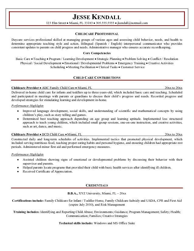 Sample Resume Child Care Child Care Resume Children Sample