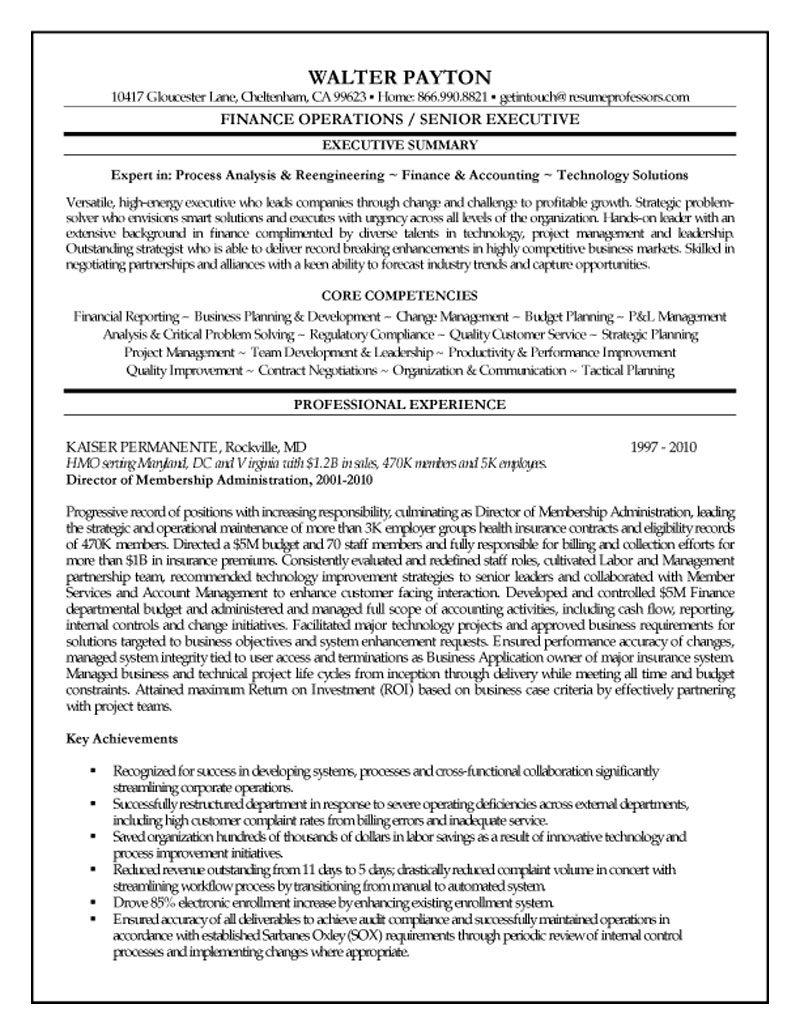sample resume for finance staff