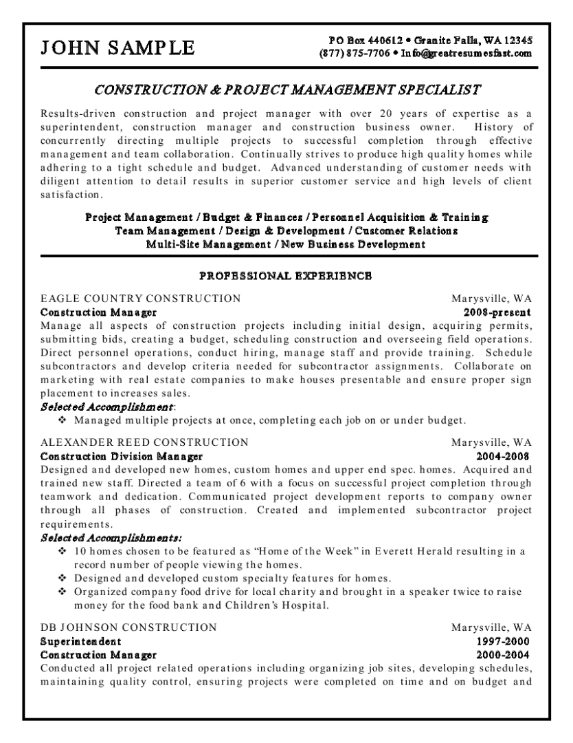 Business Management Resume Examples Construction Management Resume