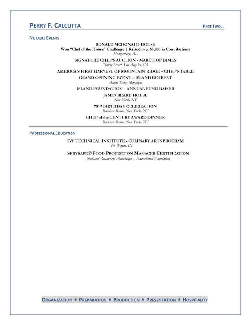 Chef Consultant Cover Letter Executive Chef Resume