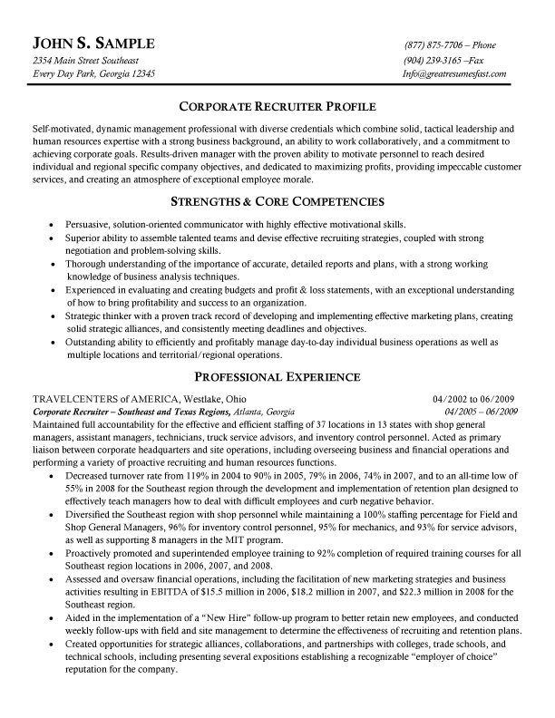 sample resume of a hr recruiter