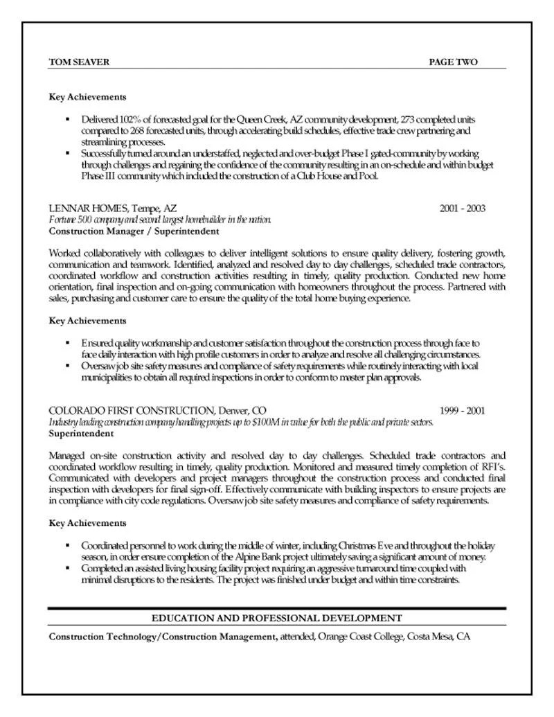Achievement Resume Examples Construction Project Manager Resume