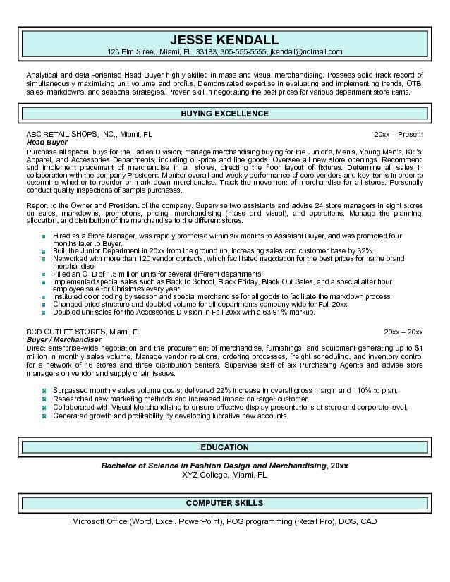 resume examples buyer