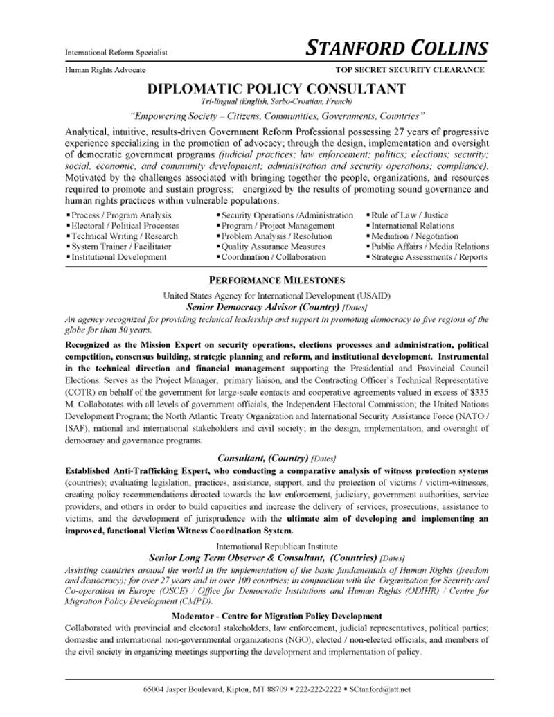 Delightful Policy Consultant Resume