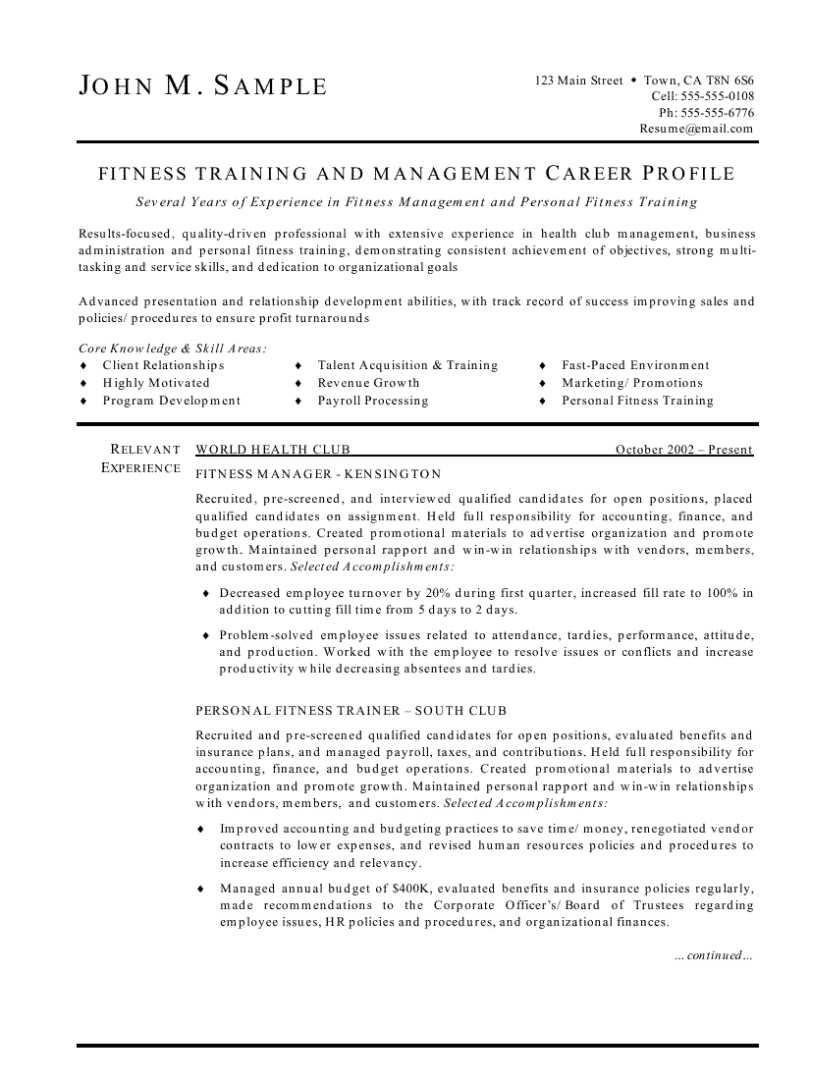 fitness manager resume example