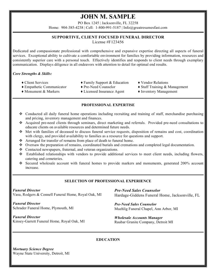 Funeral Director Resume