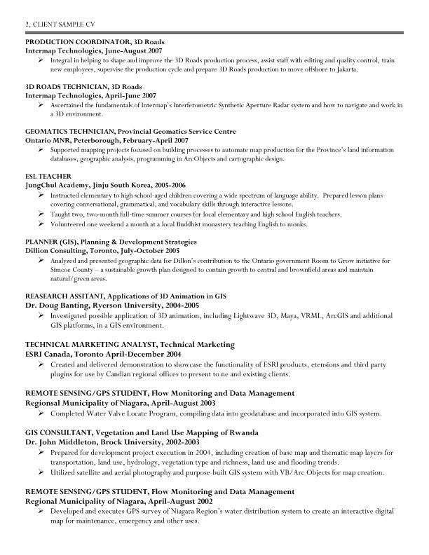 GIS (Geographic Information System) Specialist Resume