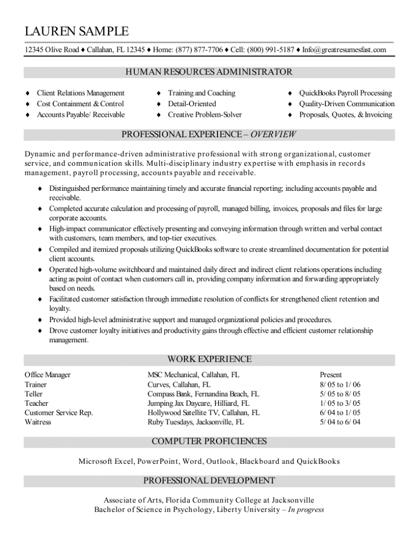 human resources recruiter resume