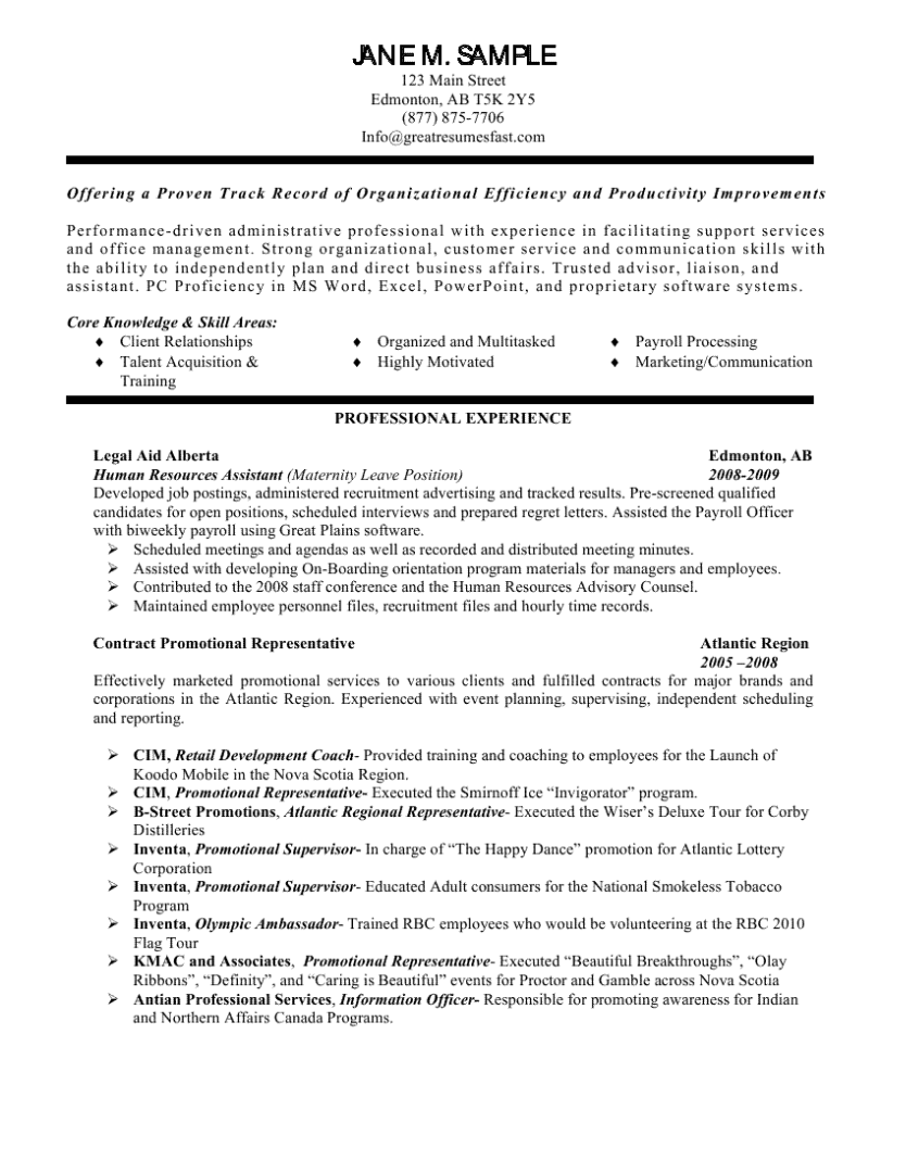 Human Resource Resumes Human Resources Assistant Resume