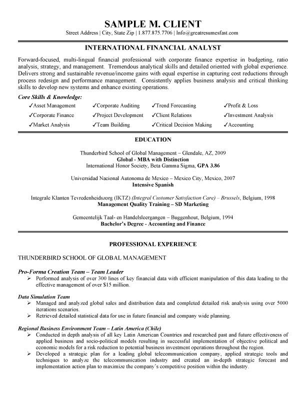 financial analyst resume examples - Finance Resume Examples
