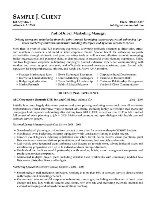 Marketing Manager Resume Examples Resume Sample