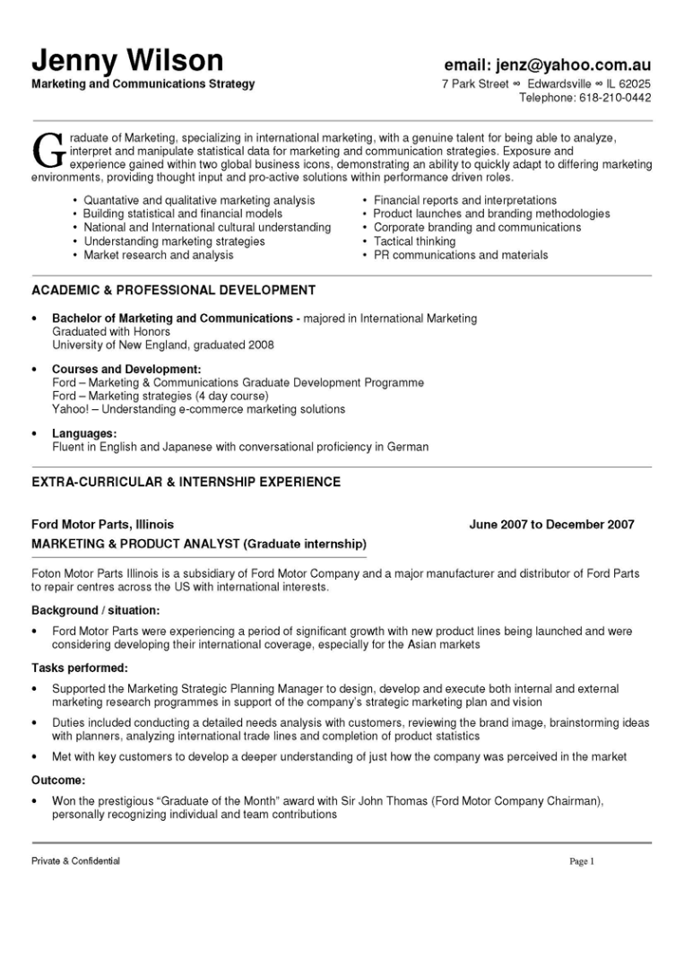 Marketing And Communications Resume New Grad