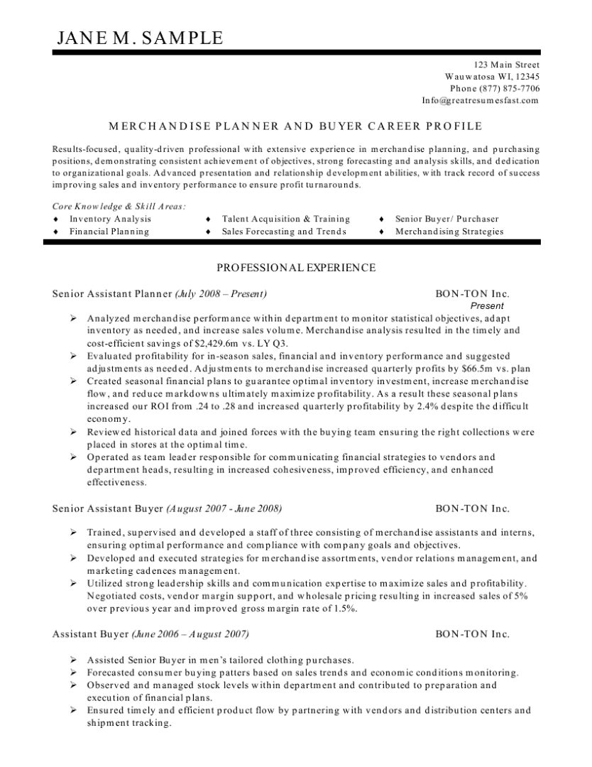 Planner And Buyer Resume