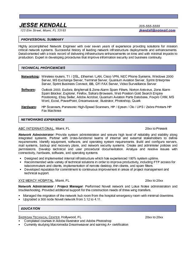 network administrator resume sample freshers