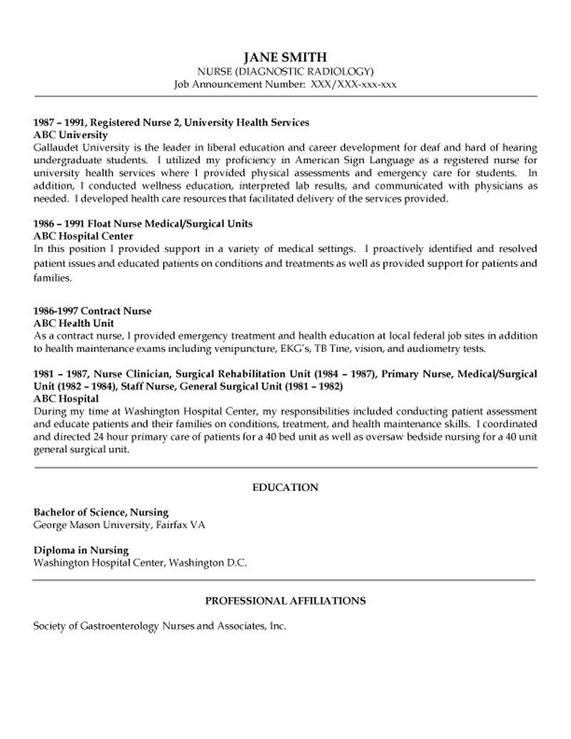 Nurse – Diagnostic Radiology Resume