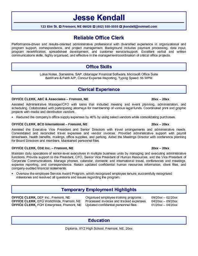 resume skills office clerk