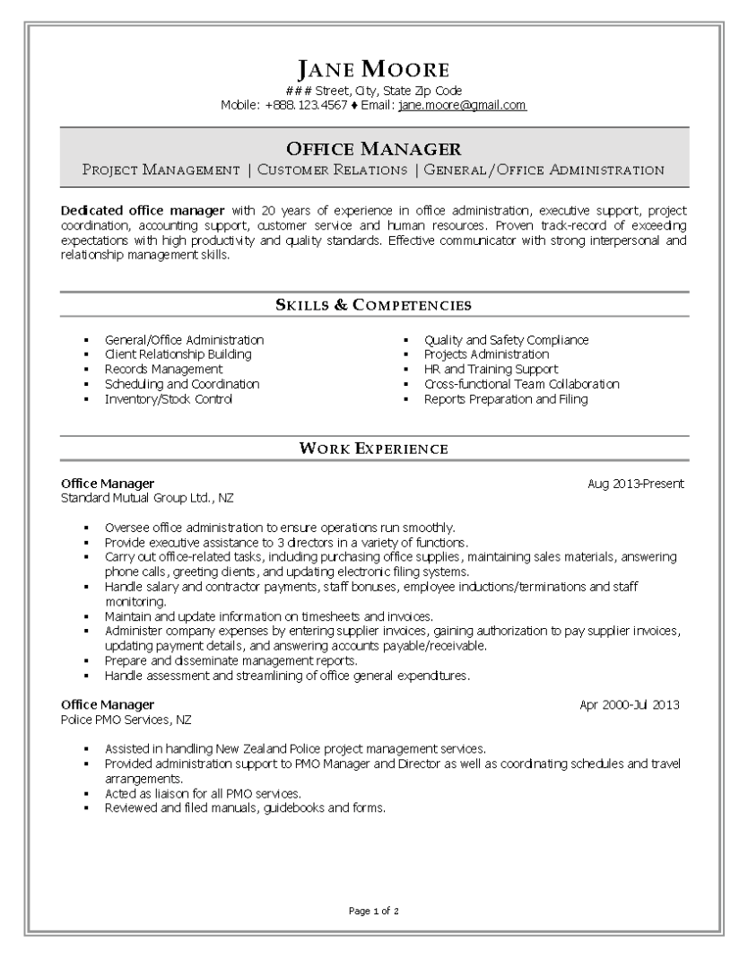 example for summery for resume