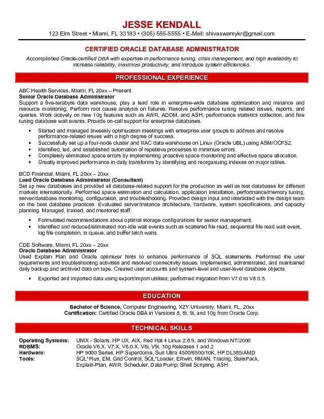 Oracle Dba Resume Example Examples of Resumes
