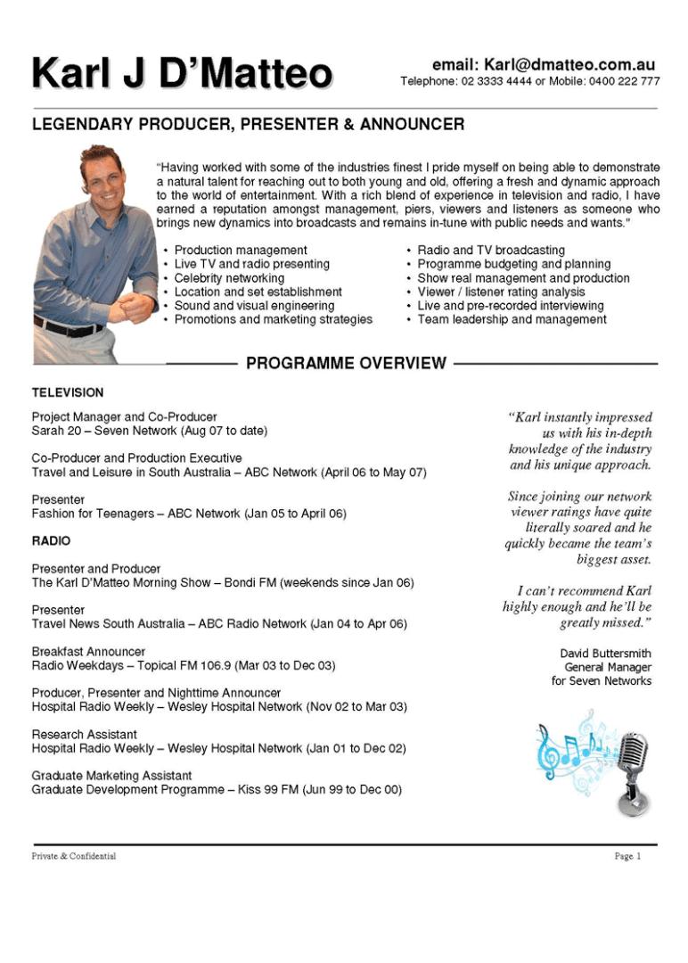 tv presenter resume template